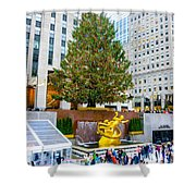The Christmas Tree At Rockefeller Center New York City Shower Curtain