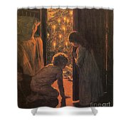 The Christmas Tree Shower Curtain by Henry Mosler