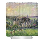 The Church And Farm Of Eragny Shower Curtain by Camille Pissarro