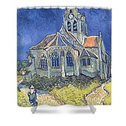 The Church At Auvers Sur Oise Shower Curtain by Vincent Van Gogh