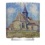 The Church At Porte-joie On The Eure By Gustave Loiseau Shower Curtain