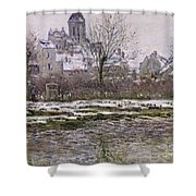 The Church At Vetheuil Under Snow Shower Curtain by Claude Monet