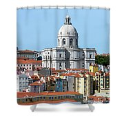 The Church Of Santa Engracia And Rooftops -- Lisbon Shower Curtain