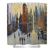 The City At Sunset Shower Curtain
