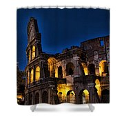 The Coleseum In Rome At Night Shower Curtain