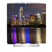 The Colorful Neon Lights On The Austin Skyline Shine Bright Shower Curtain