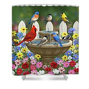 The Colors Of Spring - Bird Fountain In Flower Garden Shower Curtain by Crista Forest