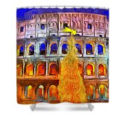 The Colosseum And Christmas  - Van Gogh Style -  - Da Shower Curtain
