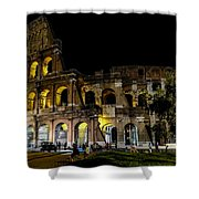 The Colosseum In Rome At Night Shower Curtain