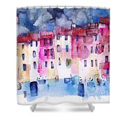 The Coloured Houses Of Portofino Shower Curtain