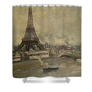The Construction Of The Eiffel Tower Shower Curtain by Paul Louis Delance