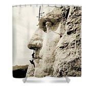 The Construction Of The Mount Rushmore National Memorial, Detail Of George Washington Shower Curtain by American School