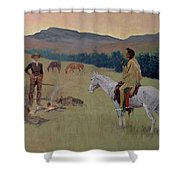 The Conversation Shower Curtain by Frederic Remington