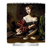 The Conversion Of The Magdalene Shower Curtain by Michelangelo Merisi da Caravaggio