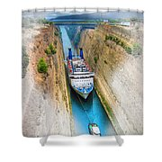 The Corinth Canal  Shower Curtain