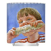 Andrew The Corn Eater Shower Curtain