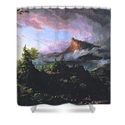 The Course Of Empire - The Savage State Shower Curtain by Thomas Cole