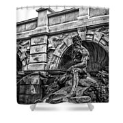 The Court Of Neptune Fountain In Black And White Shower Curtain