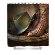The Cowboy Boots, Hat And Lasso Shower Curtain