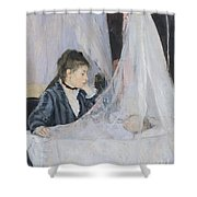 The Cradle Shower Curtain by Berthe Morisot