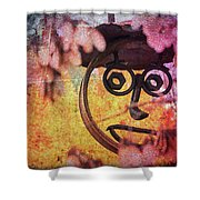 The Creepy All Seeing Bolted Dude Shower Curtain