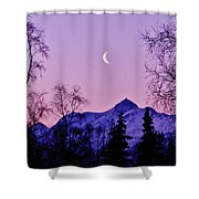 The Crescent Moon In Lavender Shower Curtain