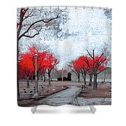 The Crimson Trees Shower Curtain