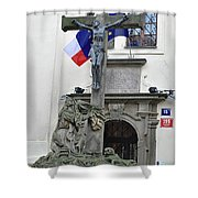 The Cross And Flags Shower Curtain