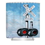 The Crossing - Train Signals Shower Curtain