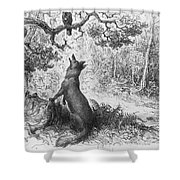 The Crow And The Fox Shower Curtain by Gustave Dore