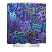 The Crowded City Shower Curtain