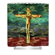 The Crucific Pop Art By Mary Bassett Shower Curtain