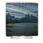 The Cuernos And Lake Pehoe #3 - Chile Shower Curtain