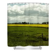 The Curve Of A Mustard Crop Shower Curtain
