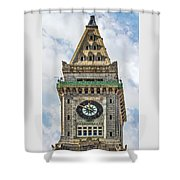 The Customs House Clock Tower Boston Shower Curtain
