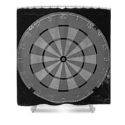 The Dart Board In Black And White Shower Curtain