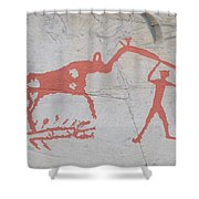 The Deer And Female Hunter Shower Curtain