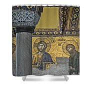 The Deesis Mosaic With Christ As Ruler At Hagia Sophia Shower Curtain by Ayhan Altun
