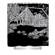 The Deserted Cabin At Night Shower Curtain