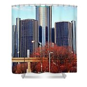 The Detroit Renaissance Center Shower Curtain by Gordon Dean II