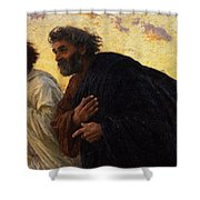 The Disciples Peter And John Running To The Sepulchre On The Morning Of The Resurrection Shower Curtain by Eugene Burnand