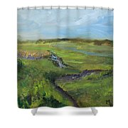The Distant View Of The Marsh Shower Curtain