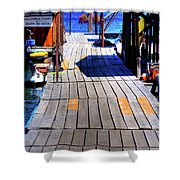The Dock At Hill's Resort Shower Curtain