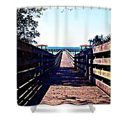 The Dock At Lake George  Shower Curtain
