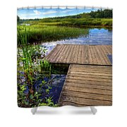 The Dock At Mountainman Shower Curtain