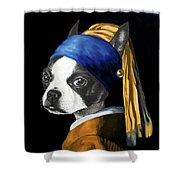 The Dog With A Pearl Earring Shower Curtain