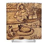 The Doll, The Kitties And The Gingerbread Boy Shower Curtain