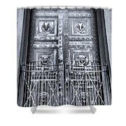 The Door At The Parthenon In Nashville Tennessee Black And White Shower Curtain