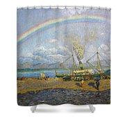The Downpour. Santona Bay By Dario De Regoyos, 1900. Shower Curtain