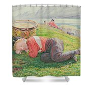 The Drummer Boy's Dream Shower Curtain by Frederic James Shields